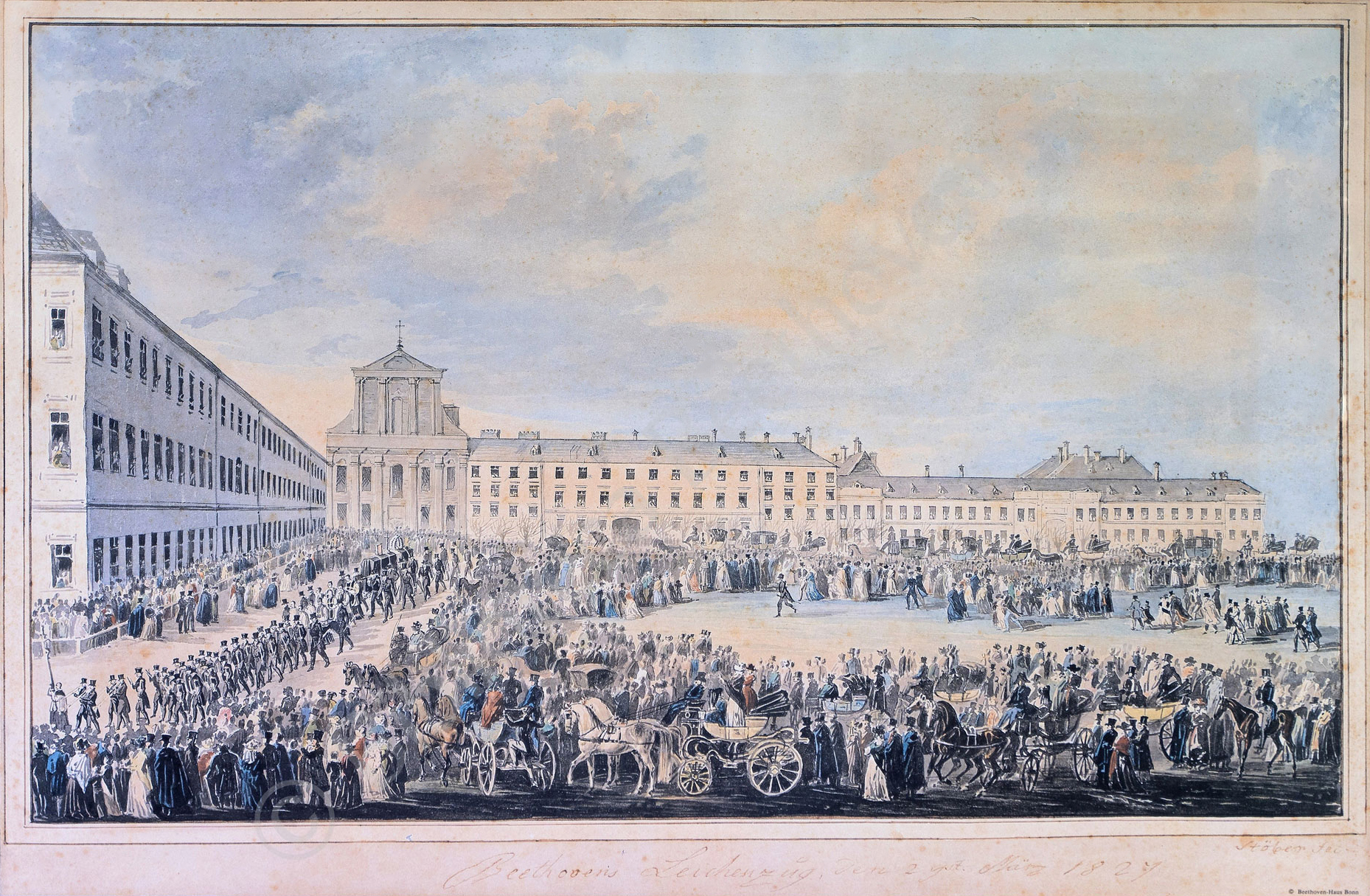 El 29 de marzo de 1827 se ofició el funeral de Beethoven, al que acudieron más de 20000 personas.