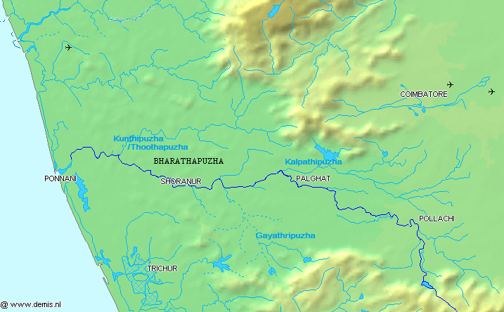 Wikimedia map of Bharathapuzha (Nila) river
