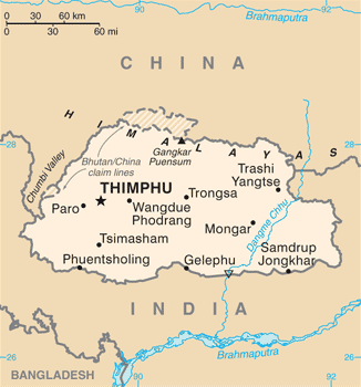 A map of Bhutan showing its borders with China and India as of 2015 . Bhutan CIA WFB 2010 map.png