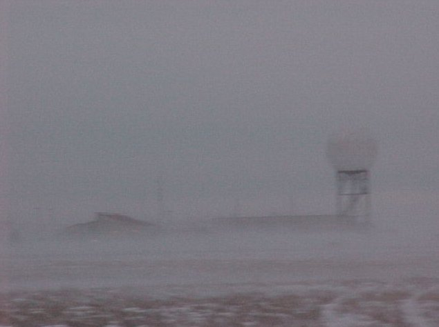 Blizzard conditions at the Goodland WSFO. Tim Schick was out working on the ASOS during this blizzard - (C) National Weather Service Forecast Office Goodland KS - Public domain via Wikimedia Commons