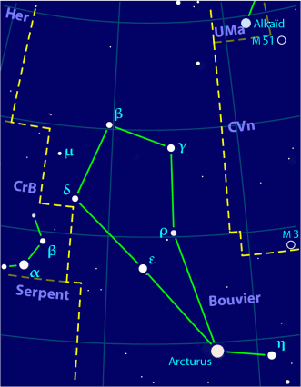 Vue de la constellation - Bootes constellation map-fr.png - Wikimedia Commons