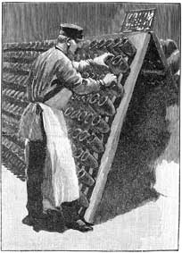 Le Remueur: 1889 engraving of the man engaged in the daily task of turning each bottle a fraction