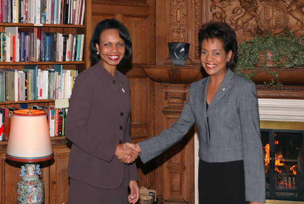 Condoleezza Rice and Michaëlle Jean