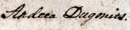 Dugonics András aláírása