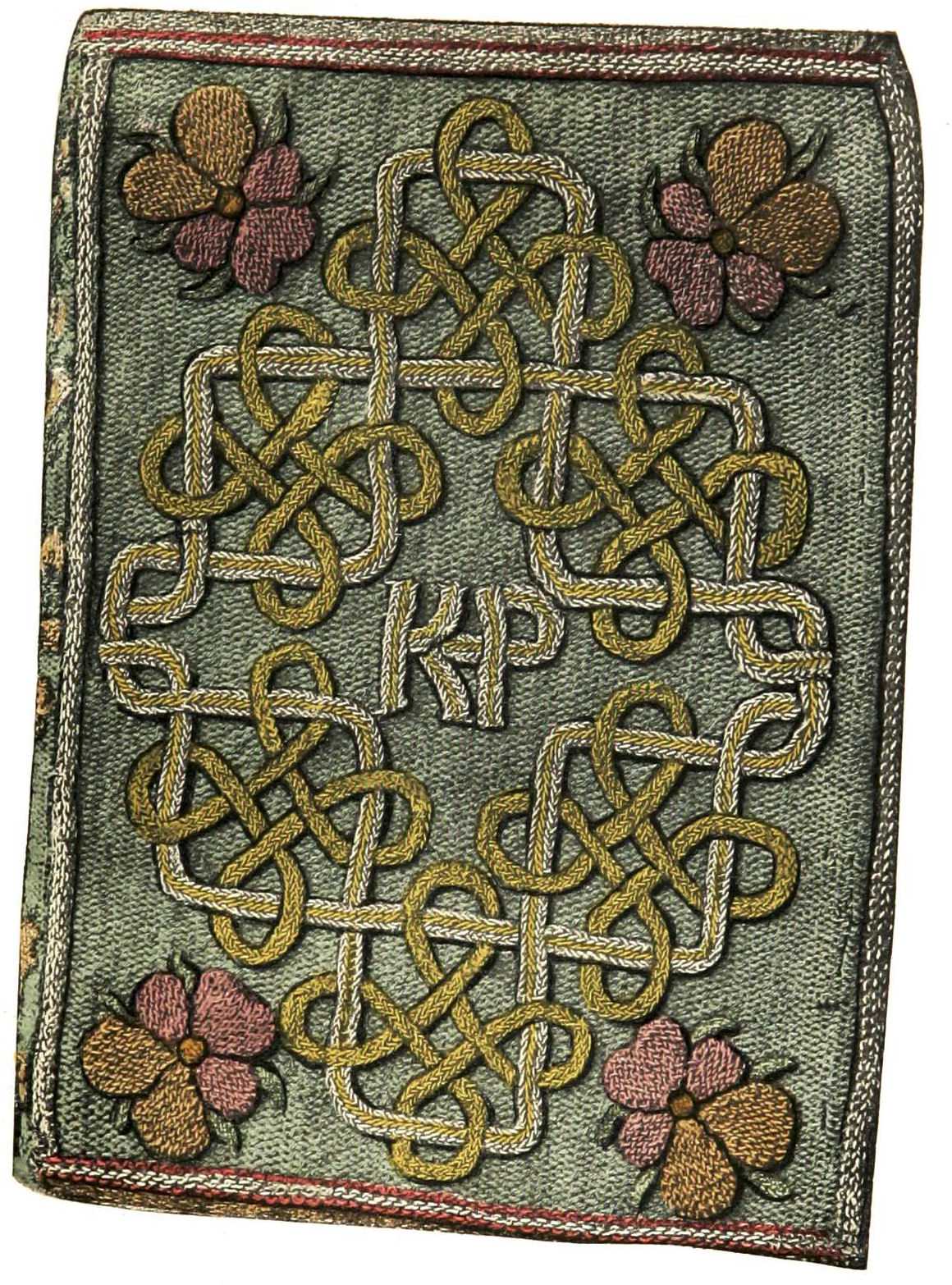 The Miroir or Glasse of the Synneful Soul, a translation from the French, by Elizabeth, presented to Catherine Parr in 1544. The embroidered binding with the monogram KP for
