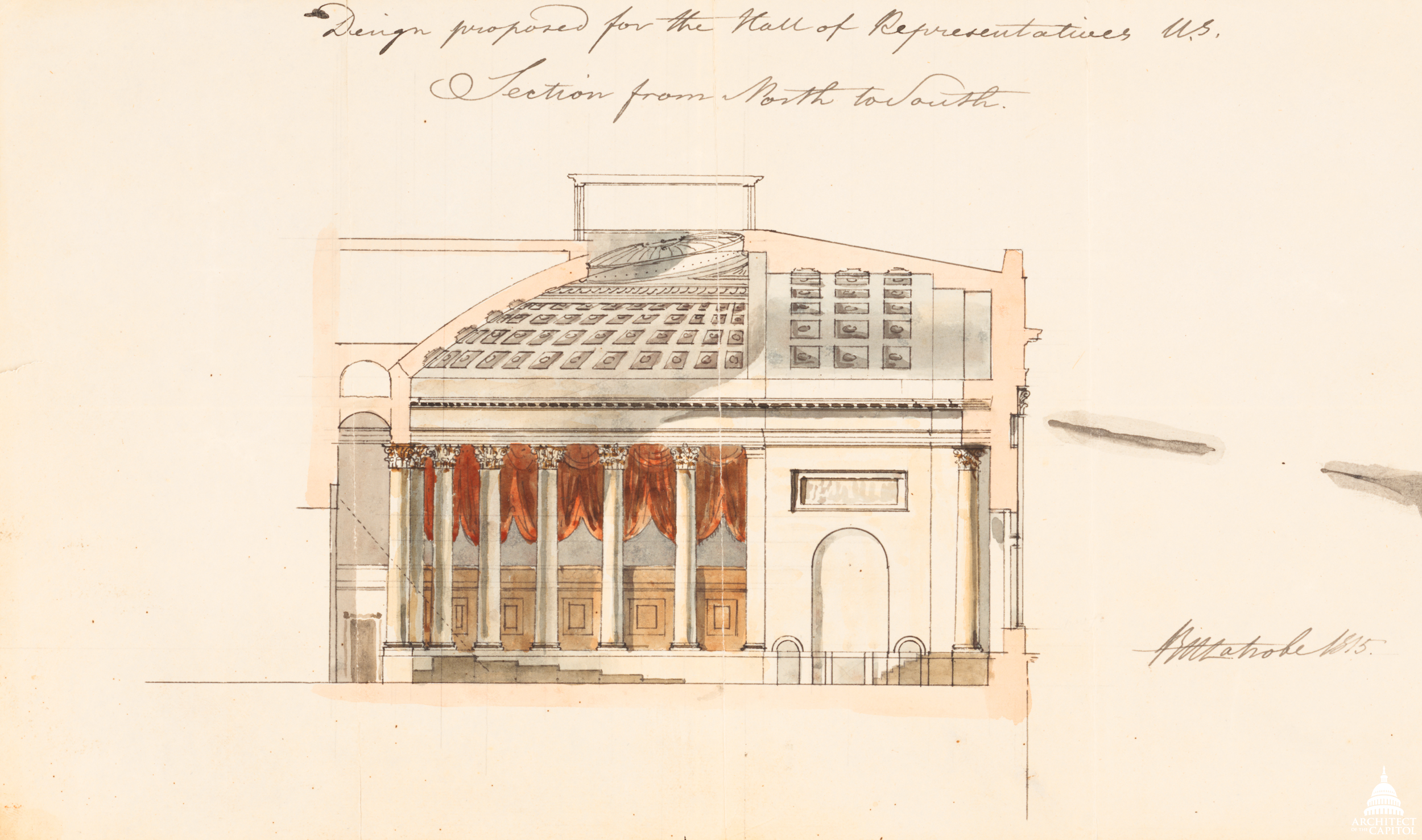 File Flickr Uscapitol Design Proposed For Hall Of Representatives 1814 Jpg Wikimedia Commons