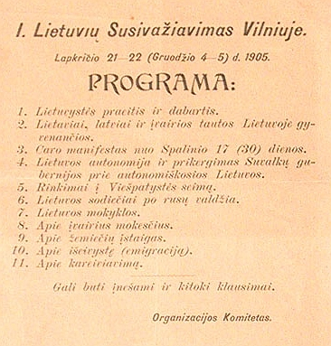 A flyer with a proposed agenda for the Great Seimas of Vilnius; it was rejected by the delegates and a more politically activist schedule was adopted Great Seimas agenda.jpg