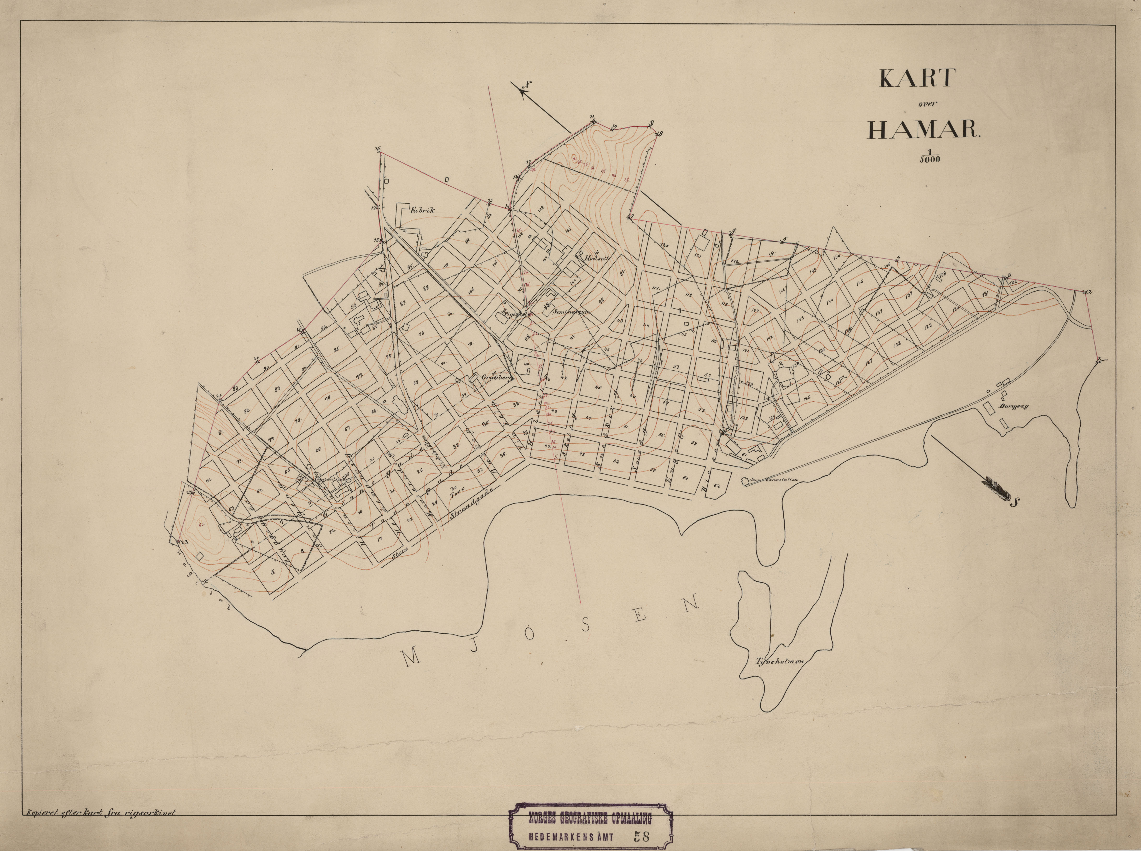 File Hedmarkens Amt Nr 58 Kart Over Hamar Hamar 1910 Jpg