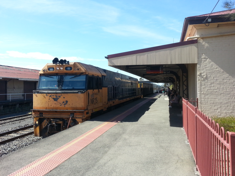 Horsham railway station with Overland train