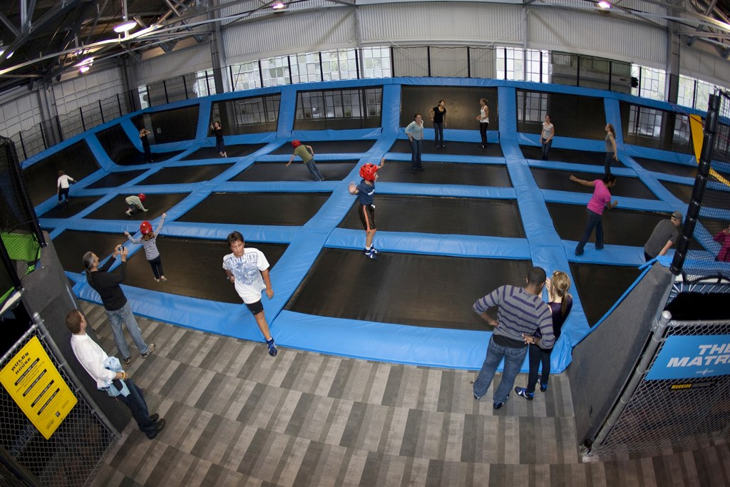 series of trampolines at BOUNCE Dubai