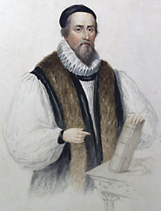 John Hooper's refusal to wear a surplice in the vestments controversy marks the birth of Puritanism. John Hooper by Henry Bryan Hall after James Warren Childe cropped.jpg