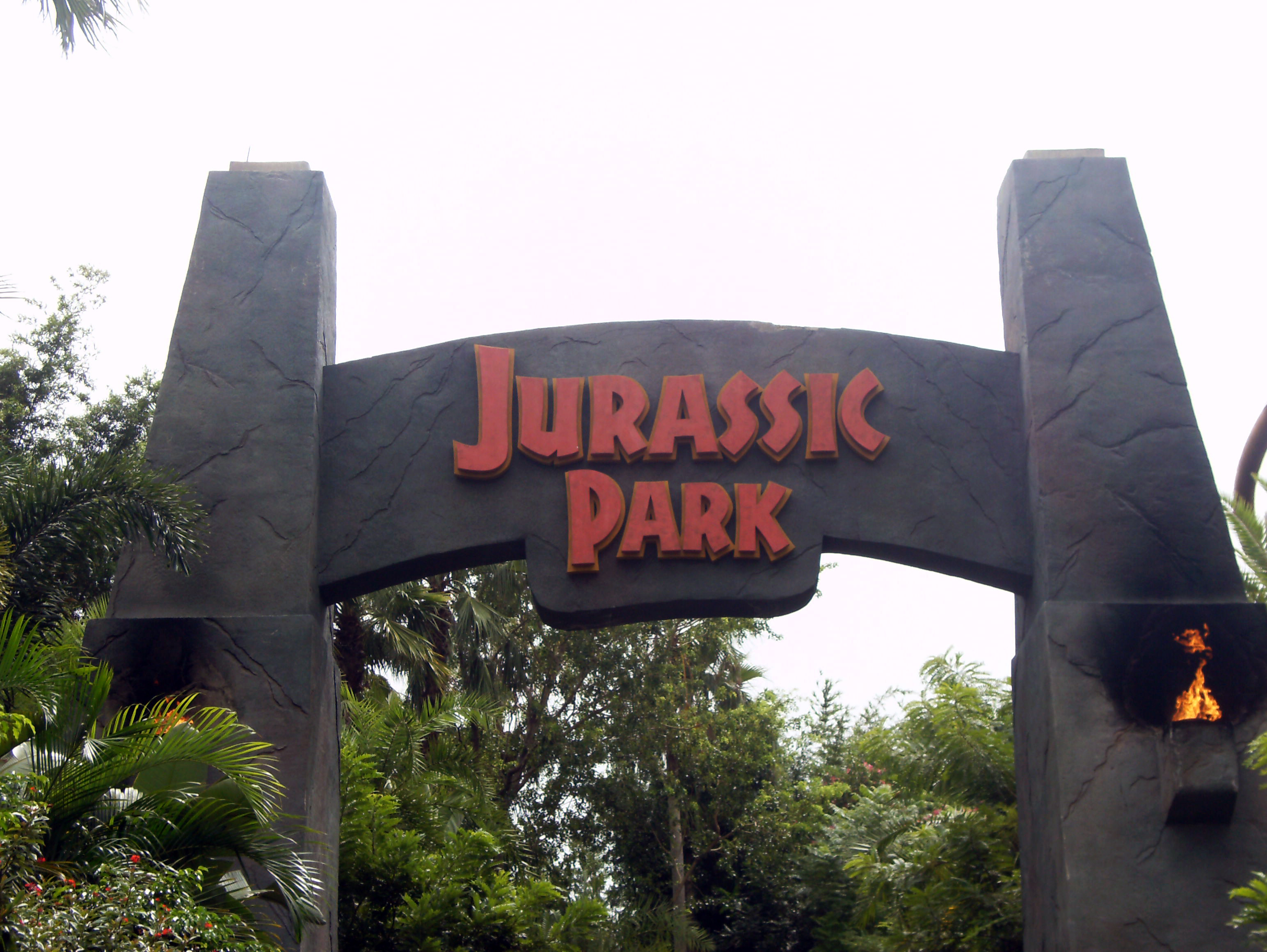 Jurassic park entrance arch at the universal islands of adventure jpg
