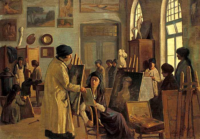 Ömer Adil'in Kızlar Atölyesi tablosu. Sandalye 'de oturup öğrencisinin resmine bakan öğretmen Mihri Hanım'dır (kaynakça:wikipedia.org).