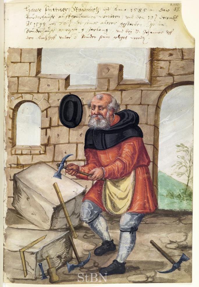 Der Steinmetz Hans Puttner starb 1594 im Alter von 76 Jahren im Haus der Landauerschen Zwölbrüderstiftung, wo er als verarmter Handwerker mit 67 Jahren aufgenommen worden war (Stadtbibliothek Nürnberg, Amb. 279.2°, fol. 59r.).