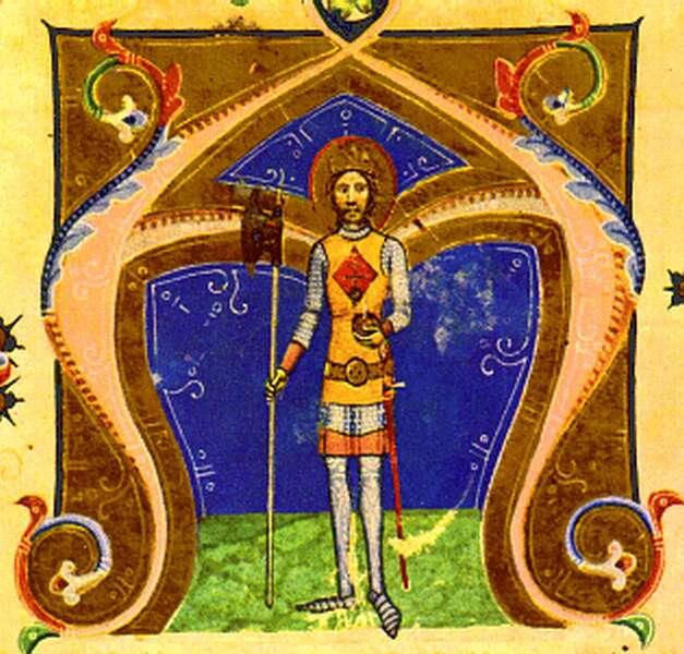 Den hellige Ladislas av Ungarn, bokmaleri (før 1360), fra Chronicon Pictum, i Nasjonalbiblioteket Széchényi i Budapest