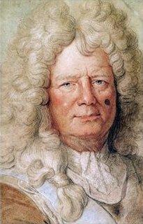 Vauban, avec sa cicatrice ronde sur la joue gauche due à un coup de mousquet reçu lors du siège de Douai[1]. Tableau attribué à Hyacinthe Rigaud.