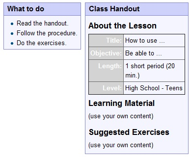 How to create such a lesson as this