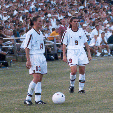 Kristine Lilly (left) and Mia Hamm (right) both scored goals in the first two group stage matches for the United States Lilly356.jpg