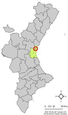 Locatie van de gemeente binnen de regio