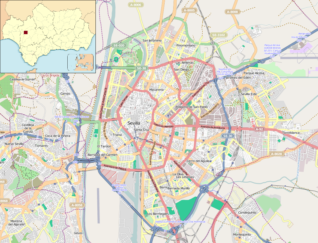 File:Location map Seville.png - Wikimedia Commons on sao paulo brazil map, tallinn estonia map, amsterdam netherlands map, palma de mallorca tourist map, seville geography, seville streets, panama map, vitoria brazil map, world map, mexico city map, marseille france map, rio de janeiro brazil map, italy map, sixteenth century venice map, spanish city project map, ho chi minh city vietnam map, lima peru map, cairo egypt map, moscow russia map, faro portugal map,