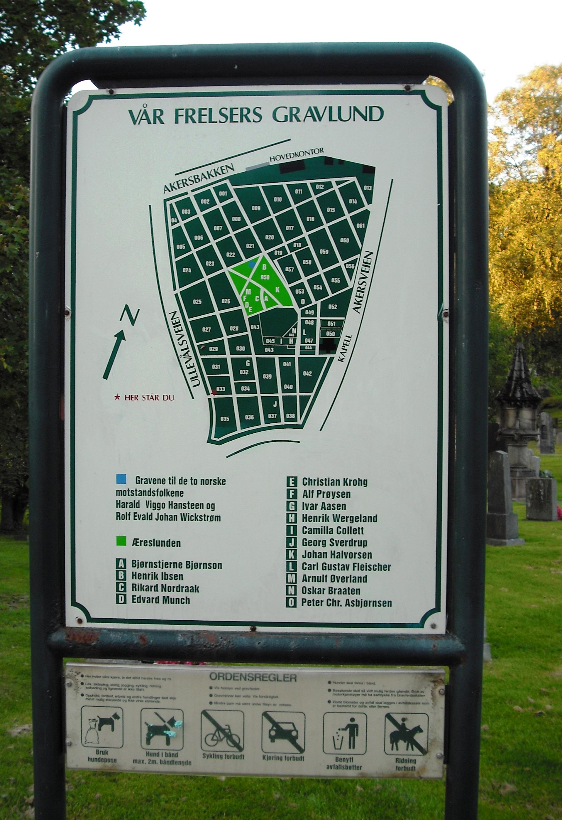 vår frelsers gravlund kart File:Map of Vår Frelsers gravlund.   Wikimedia Commons
