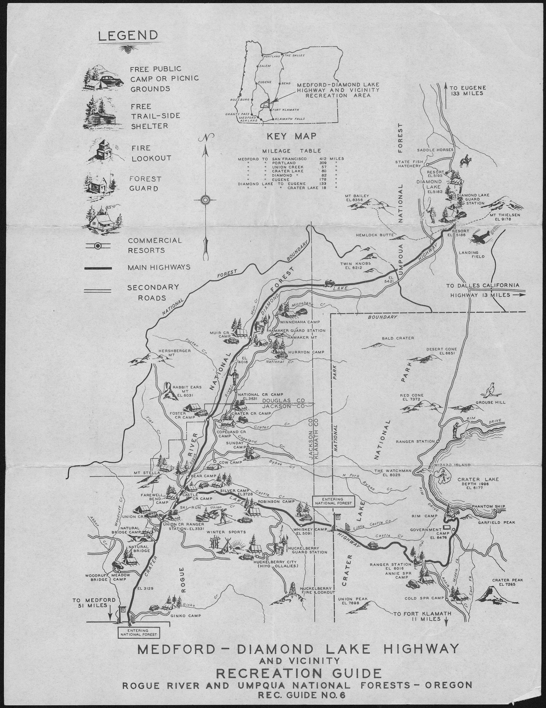 Umpqua Oregon Map.File Medford Diamond Lake Highway Recreation Guide Rogue River And