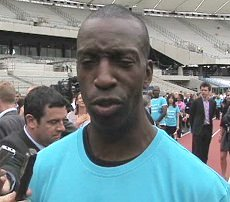 Michael Johnson in het London Olympic Stadium in 2010.