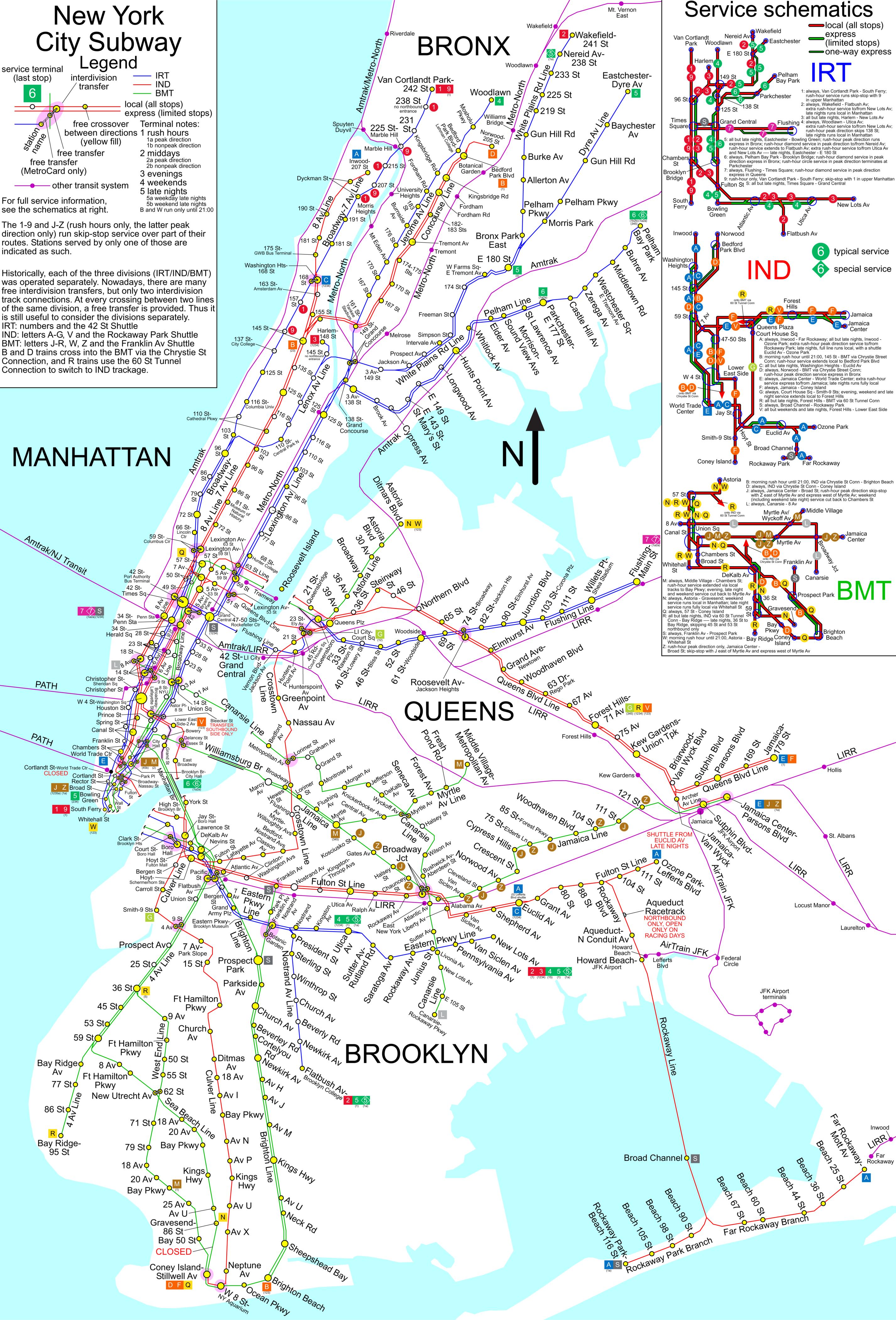 New Yorker U Bahn Netz Stand 2005