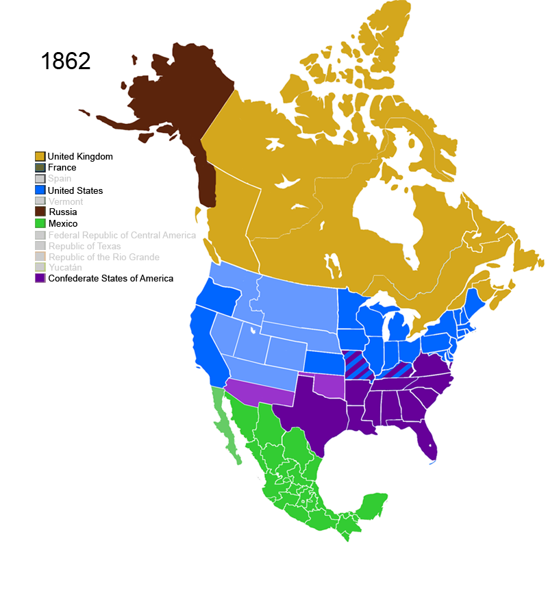 FileNonNative American Nations Control Over N America Png - Us map 1862