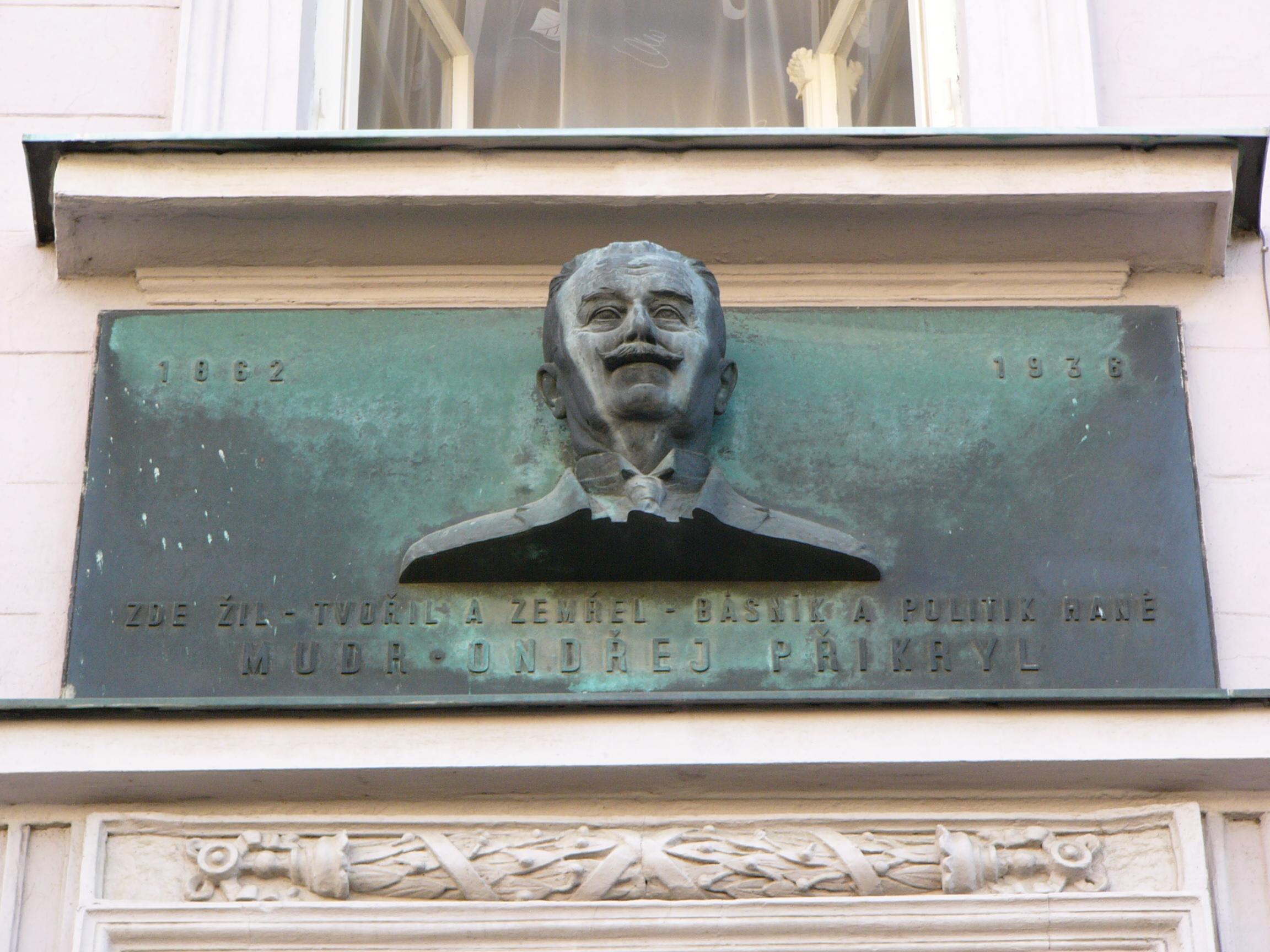 Plaque and bust of Ondřej Přikryl at Jan Žižka Square, Prostějov.