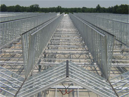 Open roof system used by facility construction company.