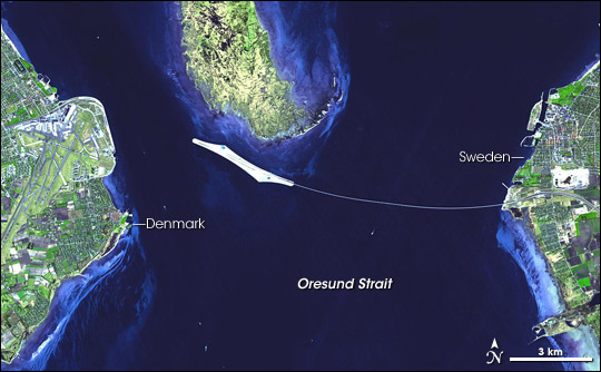 Oresaund пролив. Спутниковая фото.