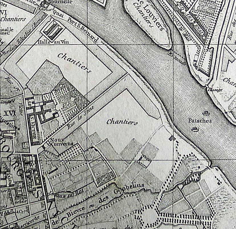 Carte de Paris Vaugondy-1760 Jardin des plantes abbaye Saint-Victor