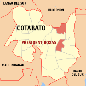 Map of Cotabato showing the location of President Roxas