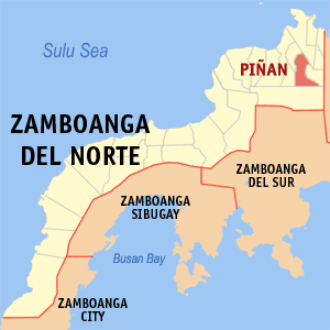 Map of Zamboanga del Norte showing the location of Piñan