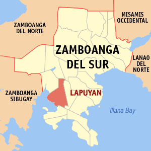 Map of Zamboanga del Sur showing the location of Lapuyan