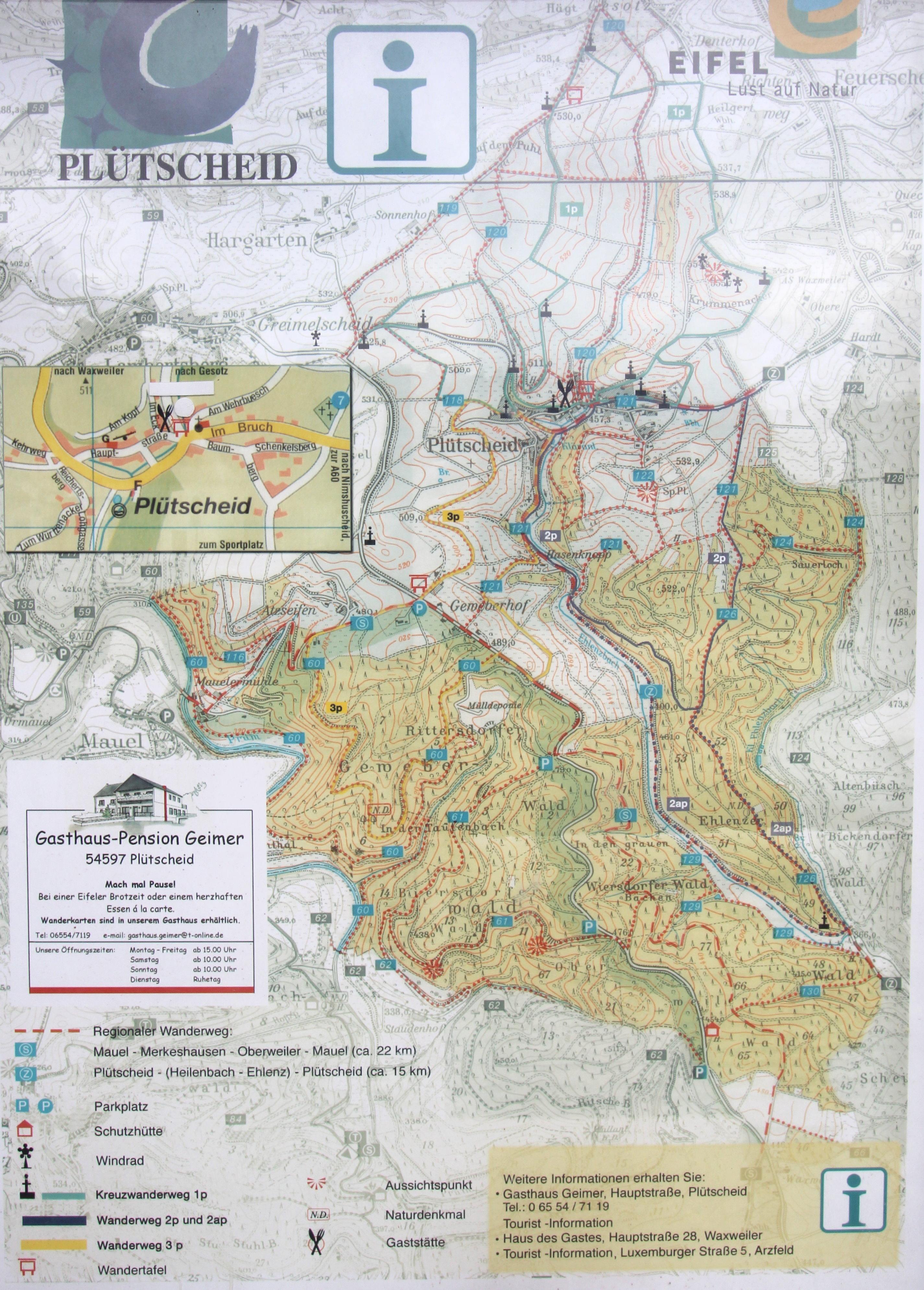 Karte Eifel.File Plütscheid Eifel Karte Wanderwege B Jpg Wikimedia Commons
