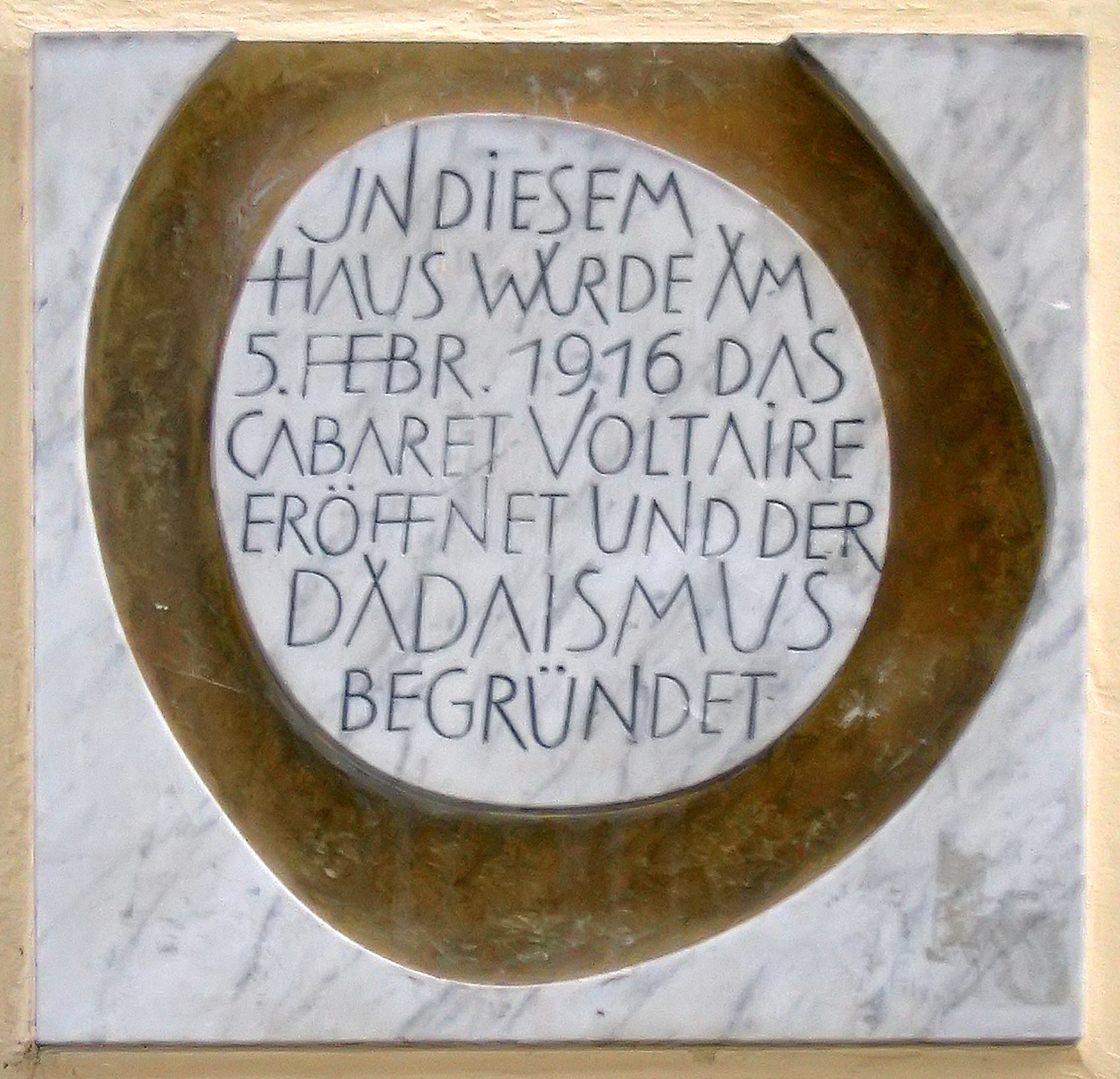 Plaque commemorating birth of Dada movement.