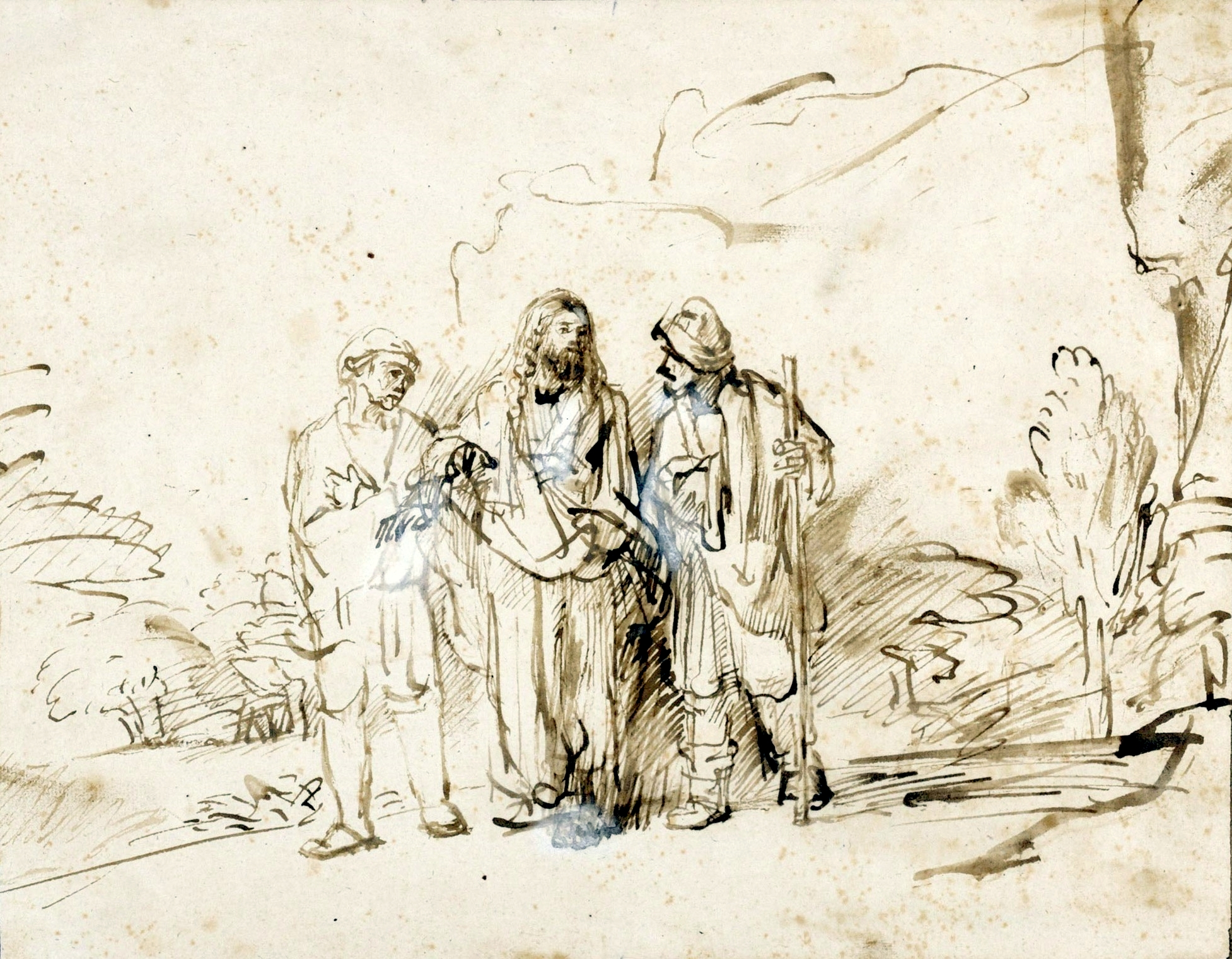 Rembrandt Christ with two disciples