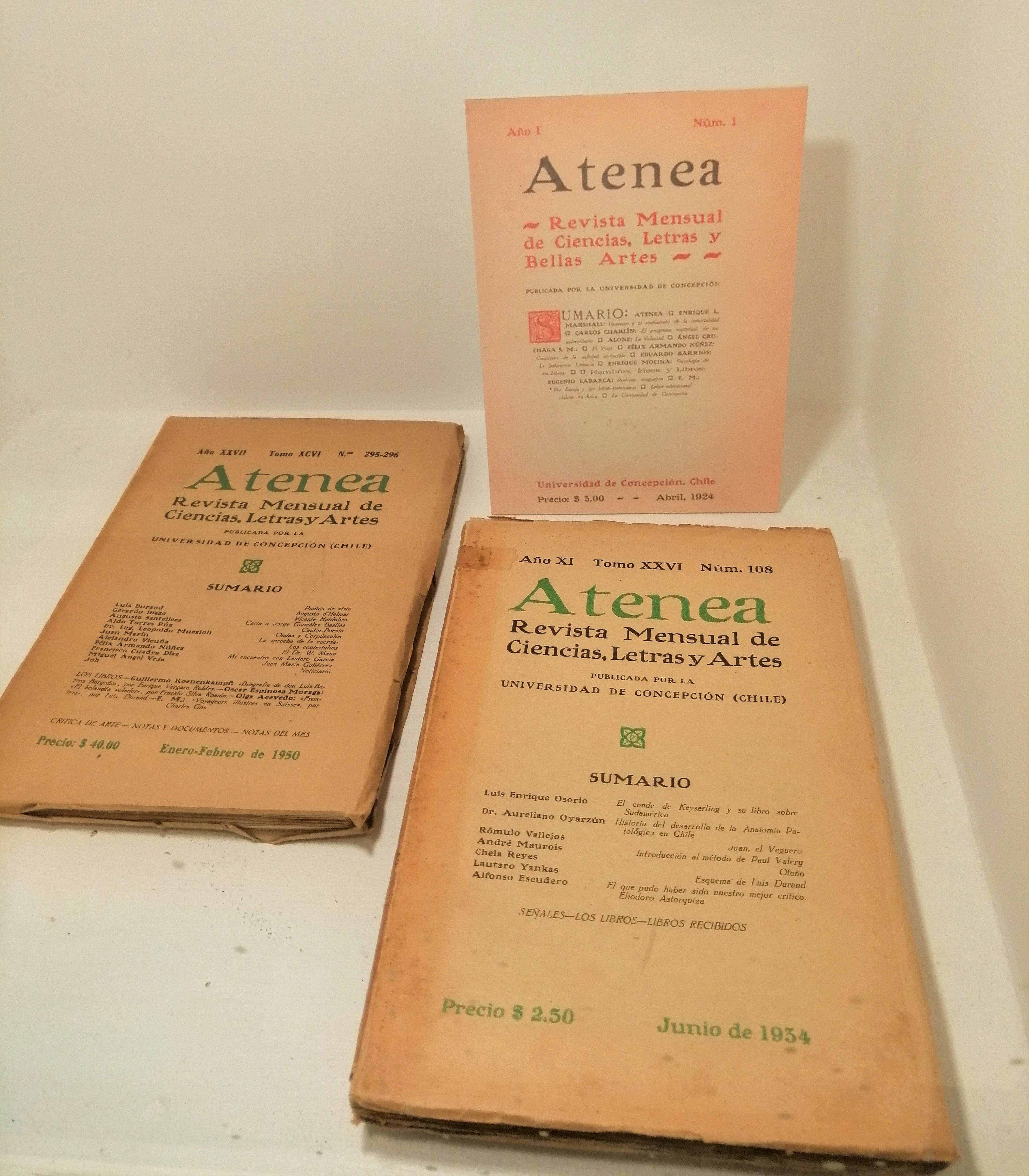 Publicación sobre Augusto d'Halmar de Gerardo Diego en el número 295-296 (1950) de la revista Atenea.