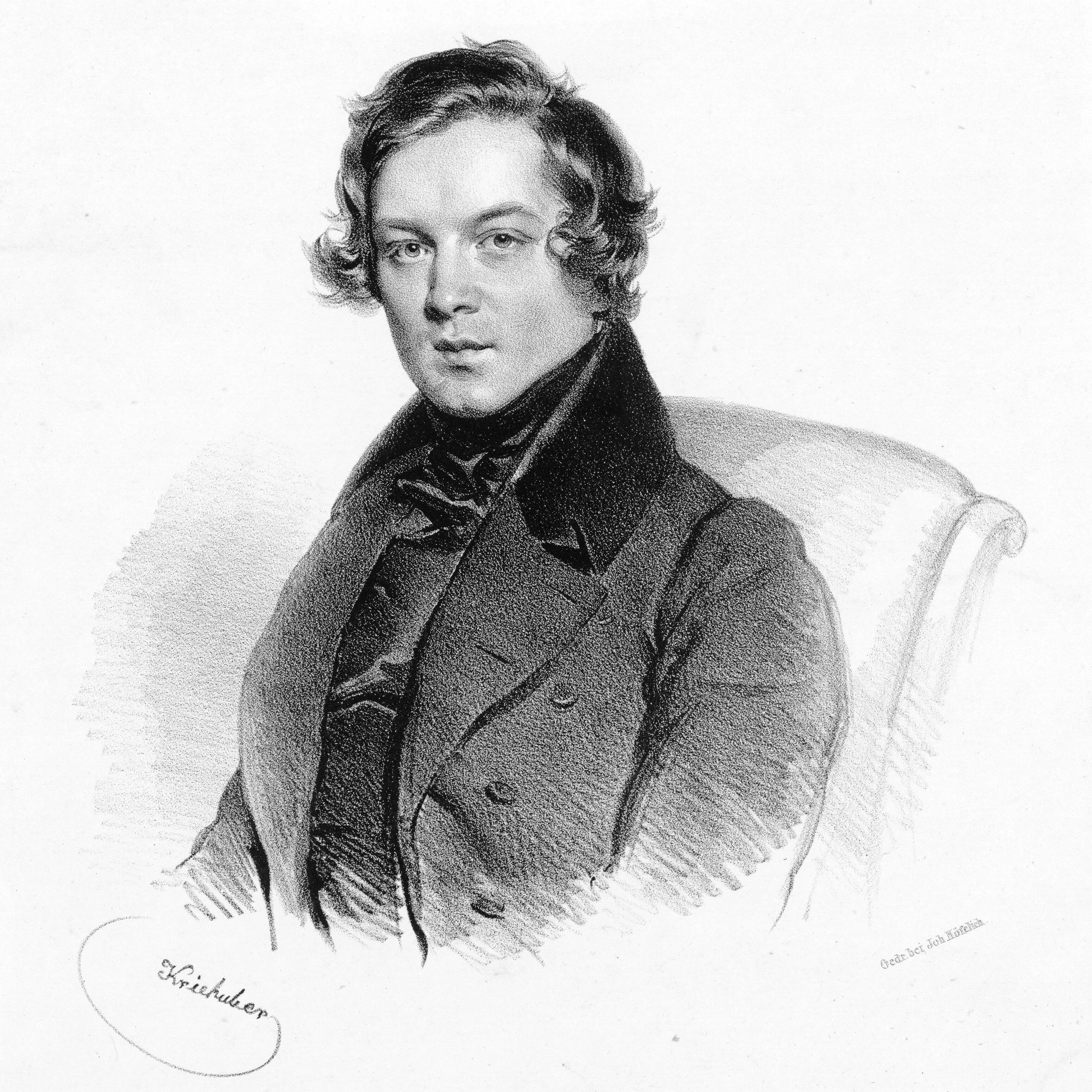 Schumann in 1839, age 29<br><small>lithograph by [[Josef Kriehuber]]</small>