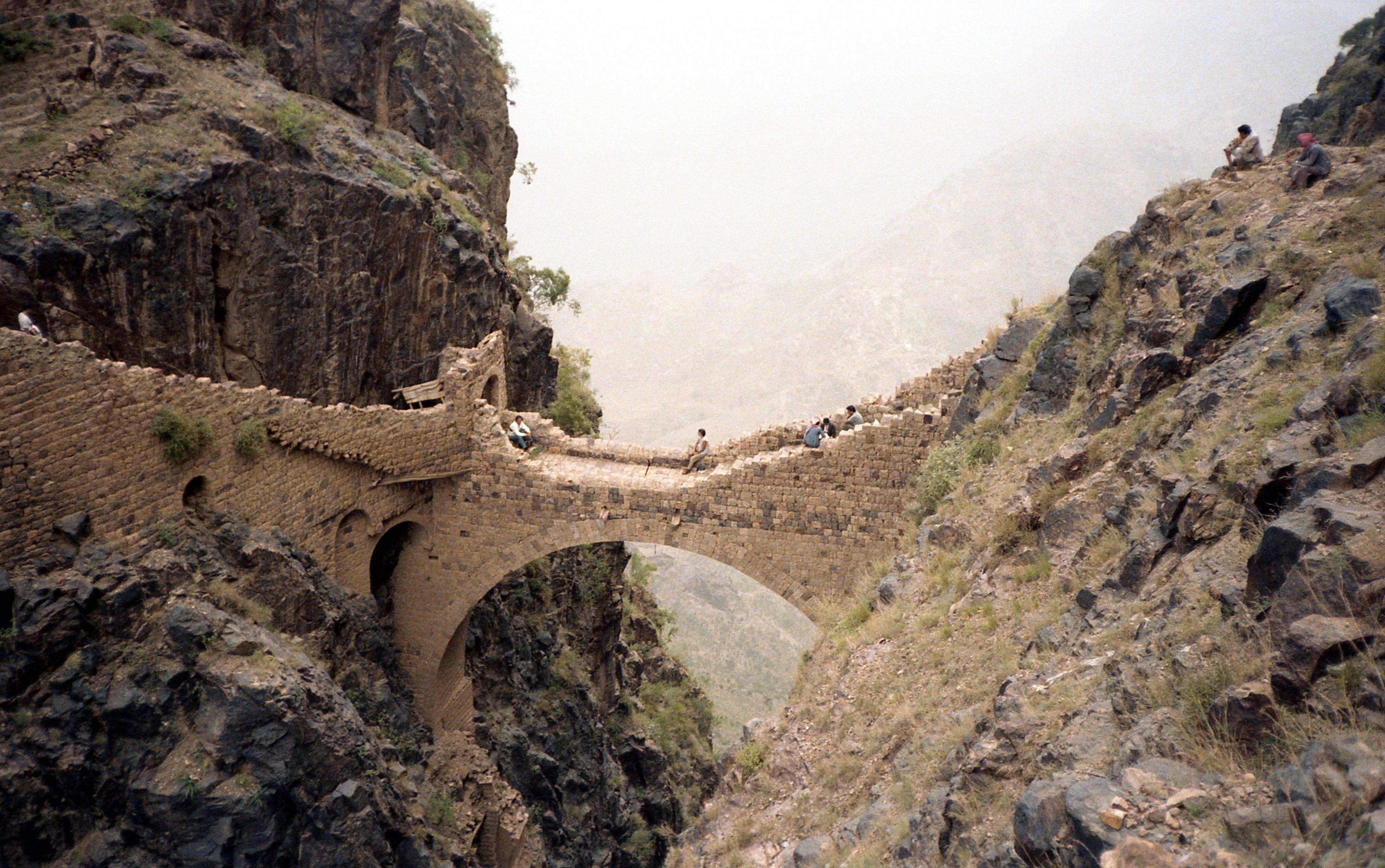 Stone arch bridge in Shaharah, Yemen