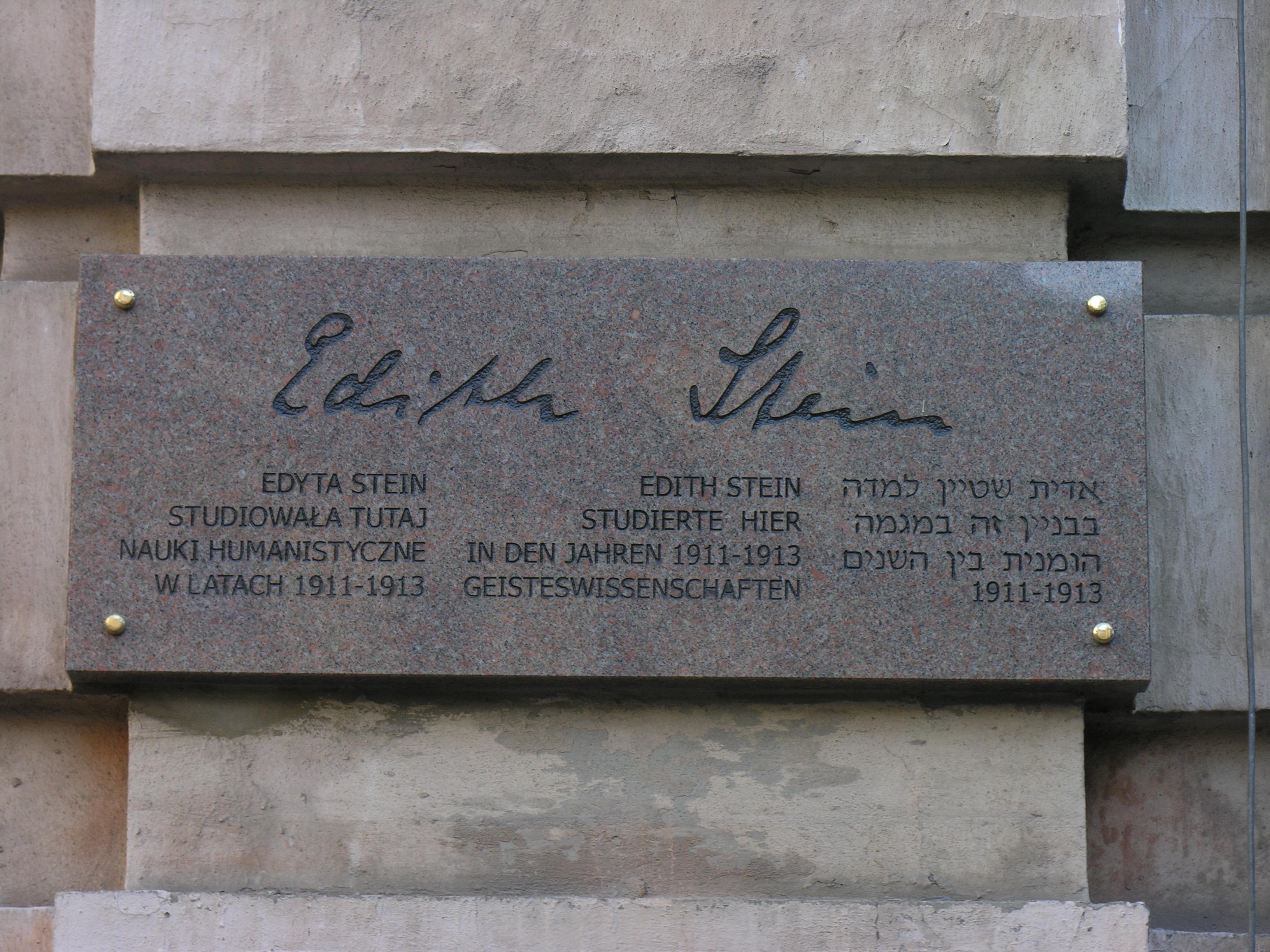 Gedenktafel für Edith Stein