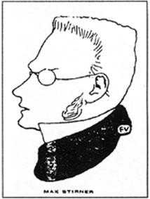 Caricatura de Max Stirner publicada por Félix Valloton en La revue blanche, 1900