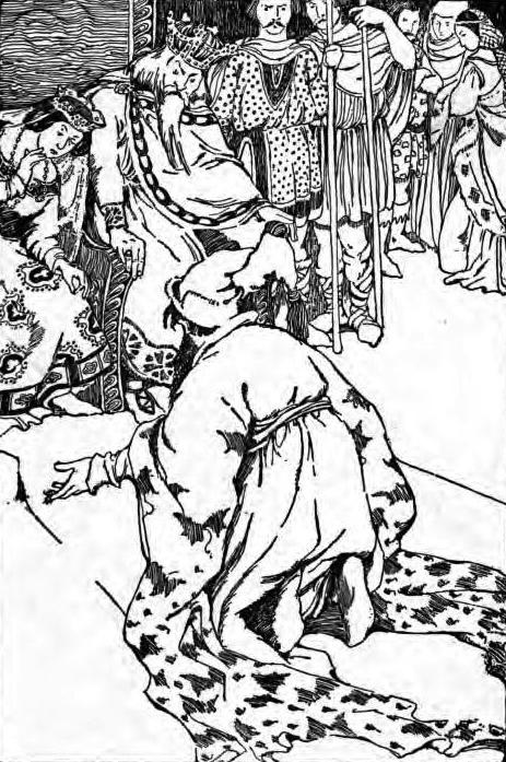 Man kneeling before two people seated on thrones