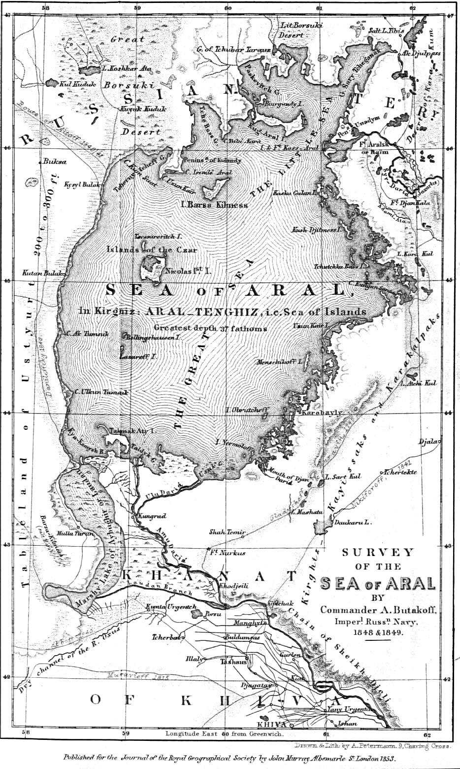 Арал теңізінің картасы, 1853 жыл, Royal Geographical Society журналы, Лондон