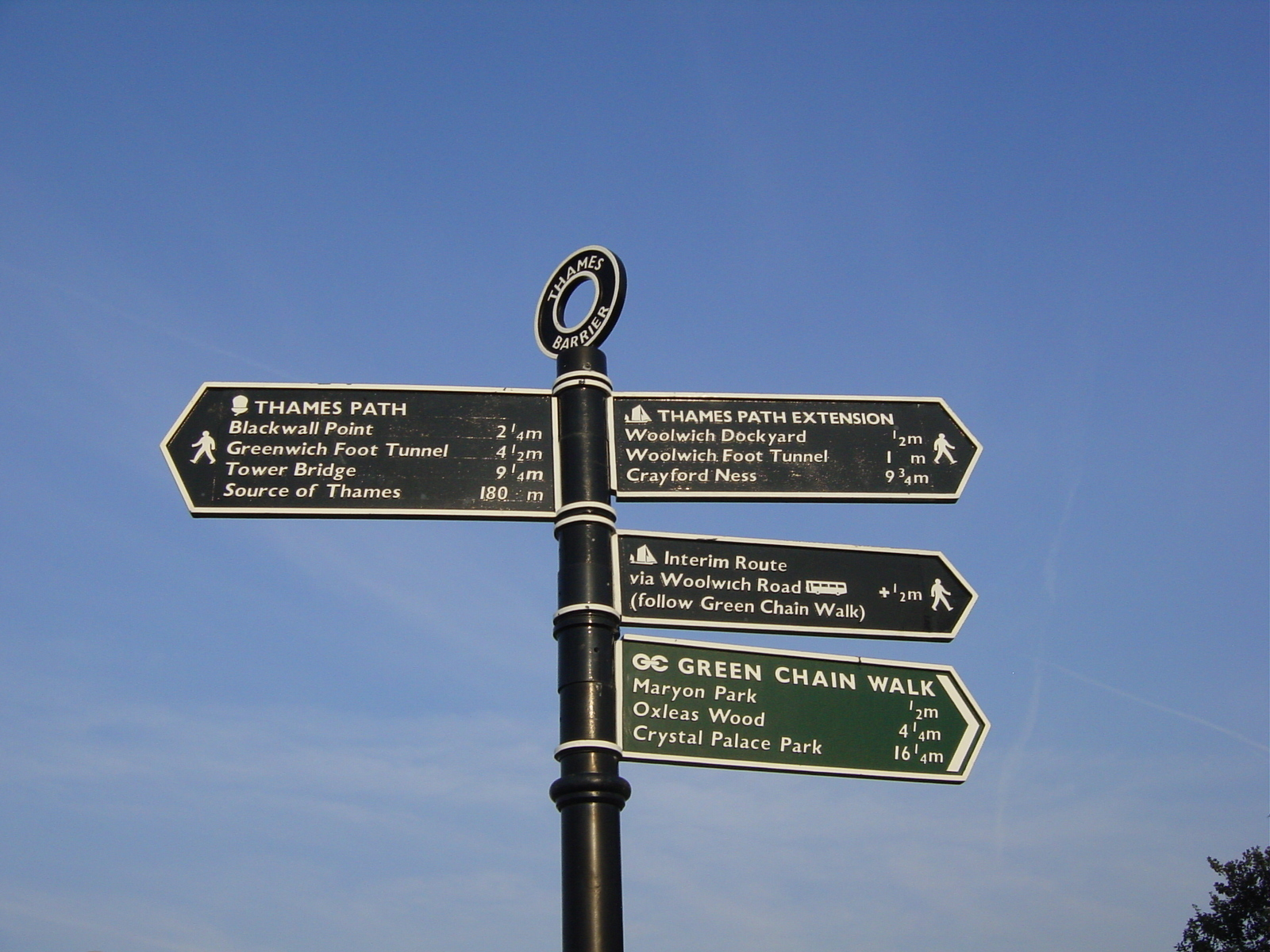 Experience London's River Thames: Thames Path sign, Thames Barrier.jpg
