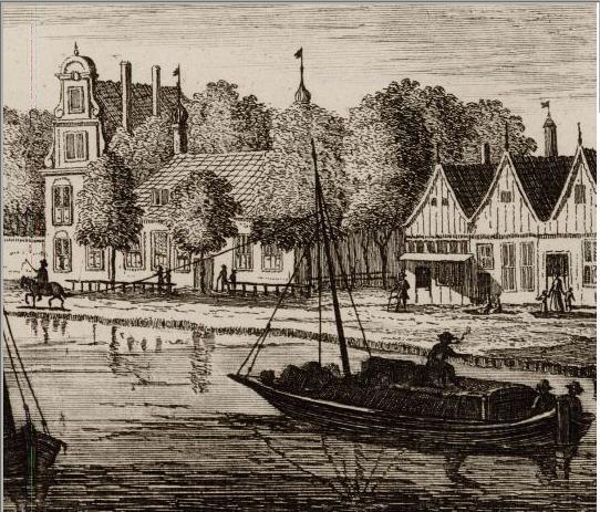 Horse-drawn barge.