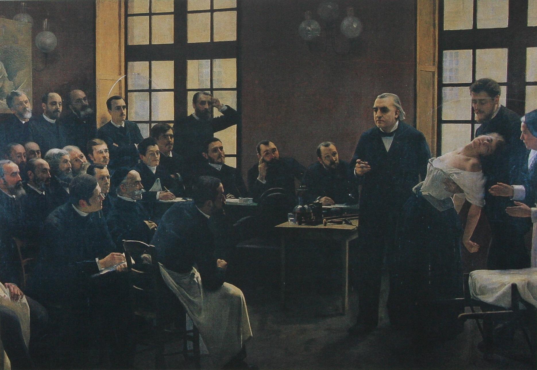 Charcot demonštruje hypnózu na hysterickej pacientke