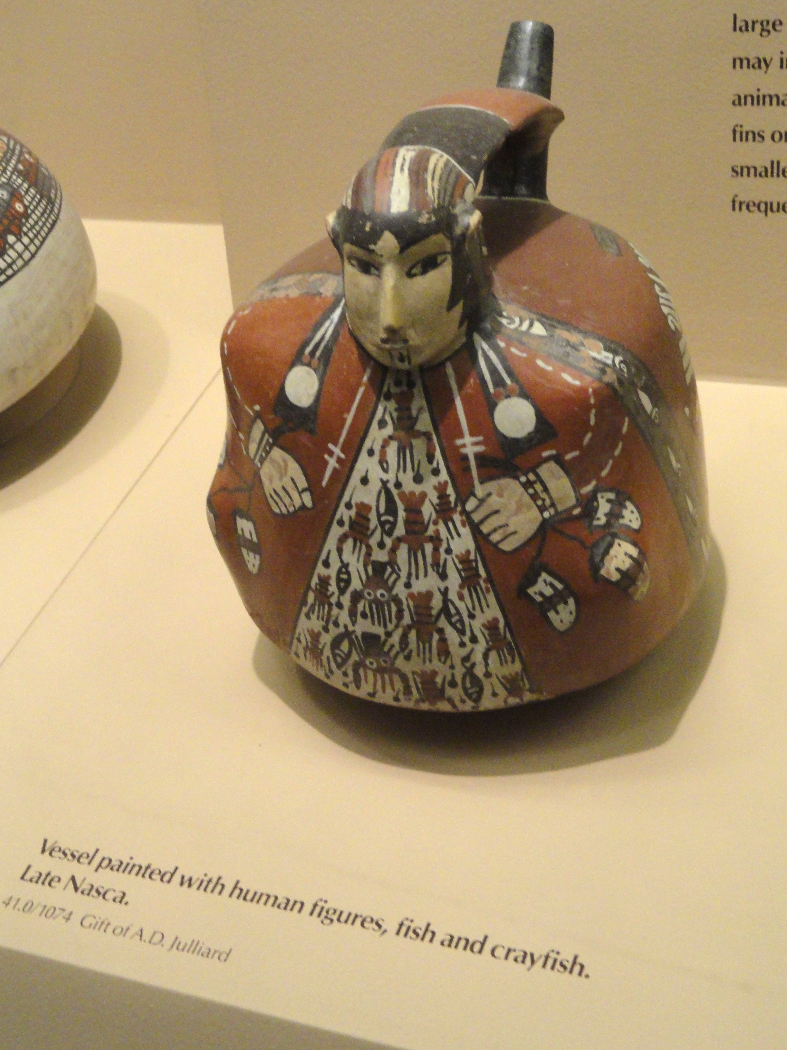 File Vessel Painted With Human Figures Fish And Crayfish